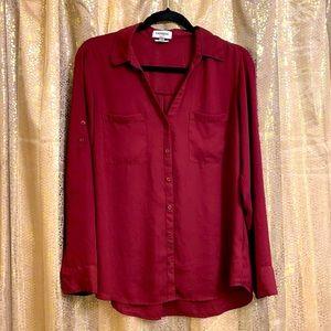 Express portofino slim fit, maroon/burgundy size L